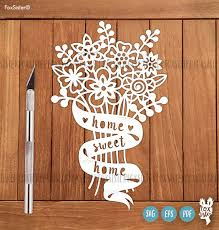 svg pdf home sweet home papercut template new home