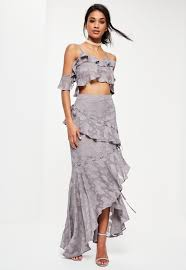 maxi skirt premium grey textured eyelet frill maxi skirt missguided