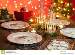 Christmas Decoration Table Candle Christmas Table Setting With Rustic Style Decorations Stock Photo
