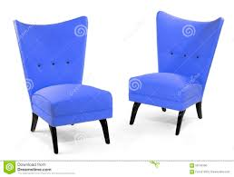 pair bright powder blue soft chairs isolated on white stock photo
