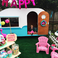kitschy camper trailer birthday party project nursery