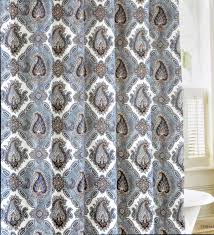 decorating white paisley curtains with black pattern for bathroom