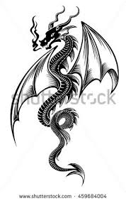 black red tribal dragon tattoo vector stock vector 393281041