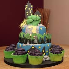 the incredible hulk fist 2 tier cake with fondant cut out name and