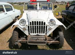 vintage jeep vintage white russian offroad car 4050h stock photo 9982732