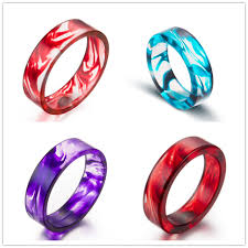 s day rings vire blood color resin ring ink color pattern
