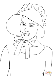 wearing pilgrim bonnet coloring page free printable