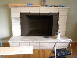 favored refinished grey color painted fireplace brick mantel also