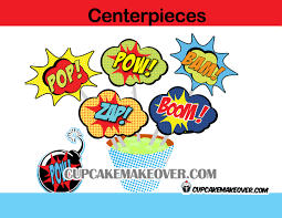 Superhero Centerpieces Superhero Comic Candy Bar Wrappers Instant Download Cupcakemakeover