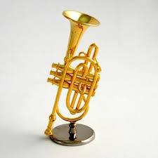 coronet miniature musical instrument ornament gift in black