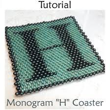 6 0 seed bead coaster monogram h pdf beading pattern simple bead