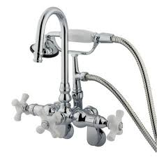 kingston brass chrome wall mount clawfoot tub faucet w hand shower