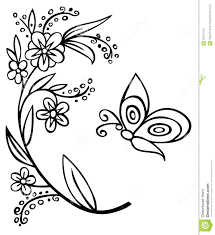 branch flower and butterfly stock vector image 59227018