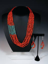 coral necklace images Native american multi strand turquoise and apple coral necklace by jpg