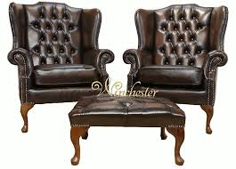 Queen Anne Armchair Chesterfield Offer Pair Mallory Flat Wing High Back Armchair