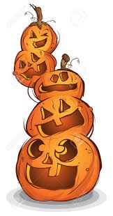 pile of carved halloween pumpkins cartoon characters royalty free