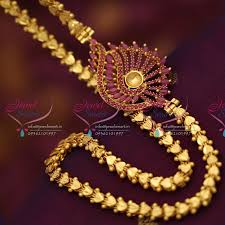 c6802 one gram 24 inches kerala chain ruby mugappu pendant