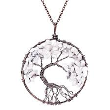 natural stone necklace pendant images Sedmart 7 chakra tree of life pendant necklace copper rose quartz jpg