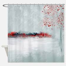 Red Black Shower Curtain Red Black Tree Shower Curtains Cafepress