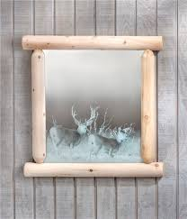 Unique Bathroom Mirrors by Rustic Wilderness Log Frame With Etched Mirror