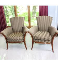 pair of designer club chairs by jacques grange for widdicomb ebth