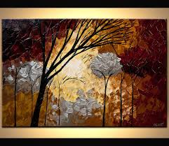 original abstract modern landscape made silver landscape blooming trees painting forest original abstract