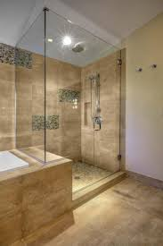 bathroom dark lowes tile flooring with doorless shower and rain