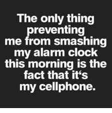 Alarm Clock Meme - the only thing preventing me from smashing my alarm clock this