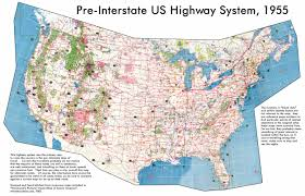 The Map Of United States by Detailed Map Of The Usa Highway System Of 1955 The Usa Highway