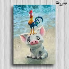 pua and heihei disney poster moana party favors nursery print