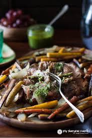 paleo pork roast in the crock pot recipe with chimichurri sauce
