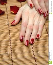 beautiful hand with perfect nail red manicure stock photos image
