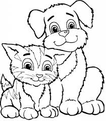 drawings of cats and dogs dogs and cats coloring pages pets for u