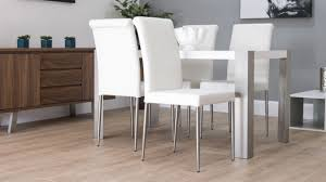 White Leather Dining Chairs White Faux Leather Accent Dining - White leather dining room set