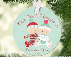 First Christmas Personalized Ornaments - twin first christmas etsy