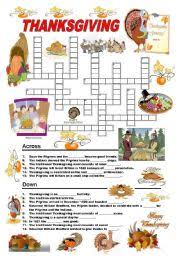 worksheets thanksgiving crossword
