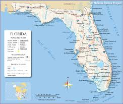 Map Of United States Physical Features by Reference Map Of Florida Usa Nations Online Project