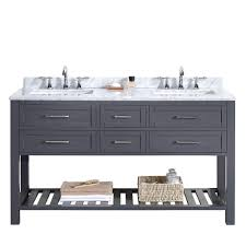 White Bathroom Vanity With Carrera Marble Top by Ove Decors Pasadena 60 In W X 22 In D Vanity In Dark Grey With