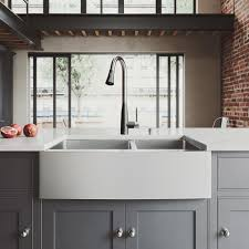 black faucet with stainless steel sink vigo all in one farmhouse stainless steel 33 in 0 hole kitchen sink