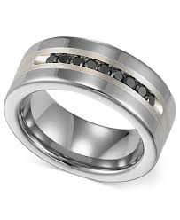 set ring triton men s tungsten and sterling silver ring channel set black