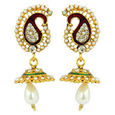 jhumka earrings peacock jhumka earrings for women in 18 karat gold plating