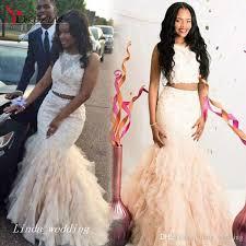beautiful two pieces mermaid prom dress cream fuchsia ruffle