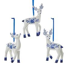 kurt adler delft blue deer ornaments