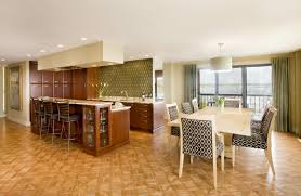 fascinating flooring for living room and kitchen with house open