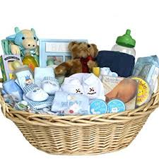 baby basket gift deluxe baby gift basket blue for boys great shower