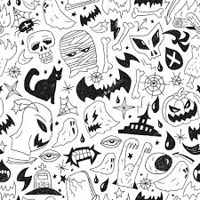 halloween black and white background halloween monsters seamless background u2014 stock vector topform