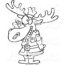 vector of a cartoon mountie moose saluting outlined coloring