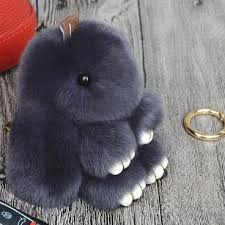 acrylic rabbit ring holder images New 18cm fluffy bunny keychain rex rabbit key chain fur woman jpg