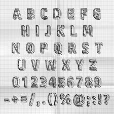 sketch font set on paper abc sign vector illustration stock
