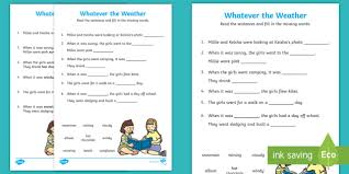 whatever the weather fill in the blanks activity sheet